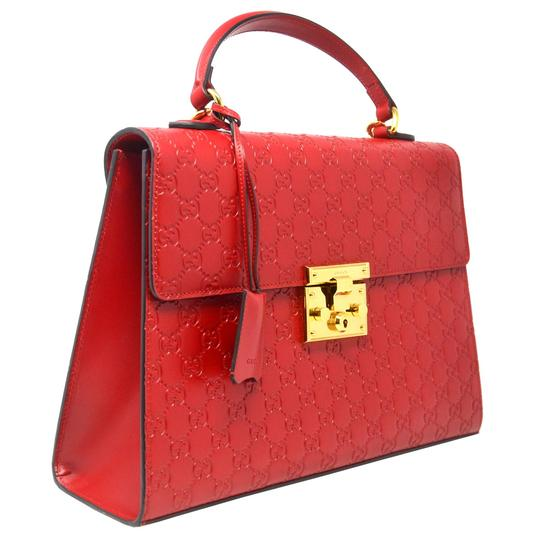 Gucci Monogram Gg Padlock Tote in Red Image 1