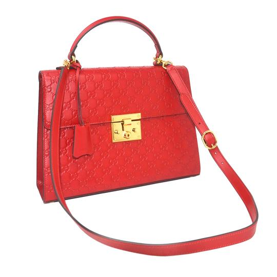 Gucci Monogram Gg Padlock Tote in Red Image 3