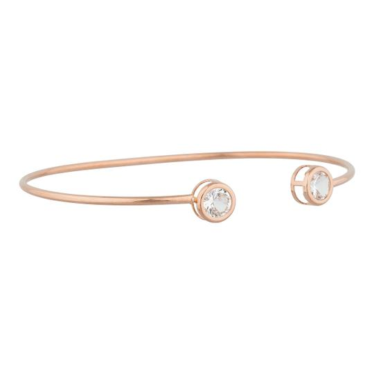 Other 14Kt Rose Gold Zirconia Round Bezel Bangle Bracelet Image 1