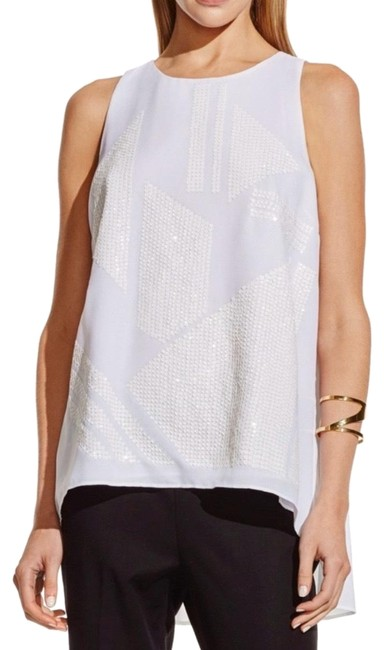 Preload https://img-static.tradesy.com/item/26207106/vince-camuto-new-ivory-sequin-front-high-low-pleated-back-blouse-white-top-0-1-650-650.jpg