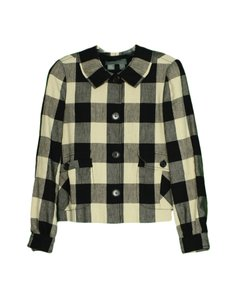 Proenza Schouler Linen Plaid Shirt Beige, Black Jacket
