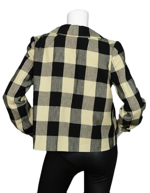 Proenza Schouler Linen Plaid Shirt Beige, Black Jacket Image 2