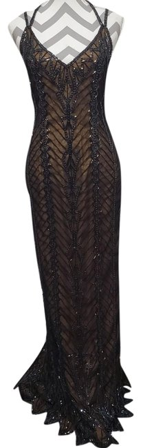 Item - Black and Brown Beaded Long Formal Dress Size Petite 4 (S)