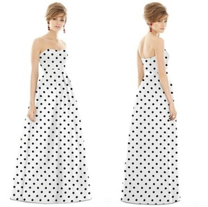 Alfred Sung White Black D748fp Strapless Sweetheart Polka Dot Traditional Bridesmaid/Mob Dress Size 0 (XS)