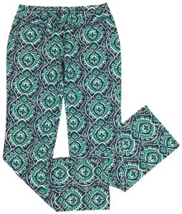 Lucky Brand Ikat Print Drawstring Lounge Relaxed Pants Blue/Green/White