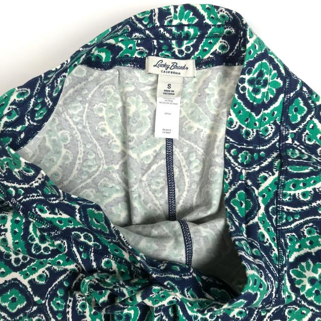Lucky Brand Ikat Print Drawstring Lounge Relaxed Pants Blue/Green/White Image 3