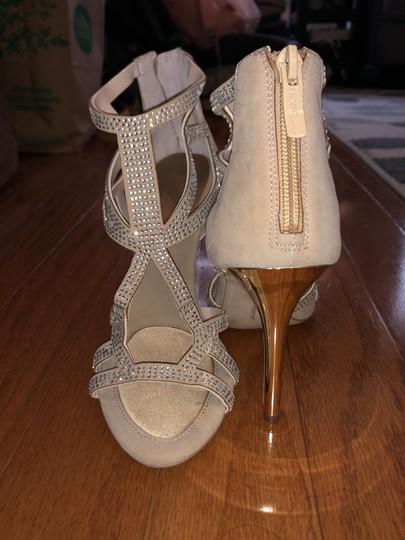 BCBGeneration Studded Glitter Warm Sand and gold Sandals Image 1