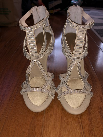 BCBGeneration Studded Glitter Warm Sand and gold Sandals Image 4