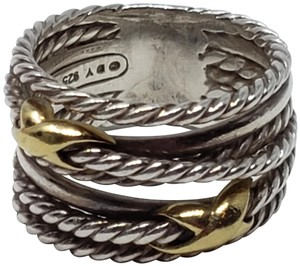 David Yurman Sterling silver 18K yellow gold David Yurman double X ring