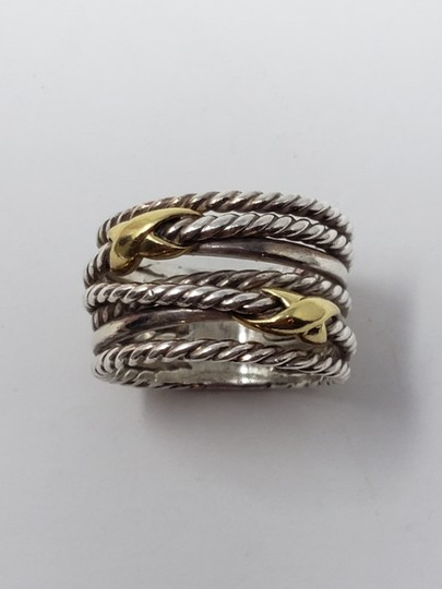 David Yurman Sterling silver 18K yellow gold David Yurman double X ring Image 1