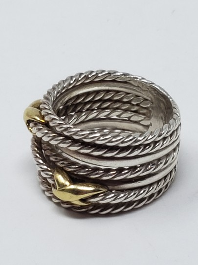 David Yurman Sterling silver 18K yellow gold David Yurman double X ring Image 10