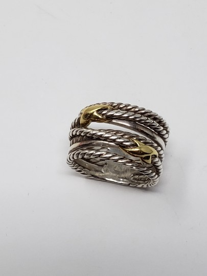 David Yurman Sterling silver 18K yellow gold David Yurman double X ring Image 11