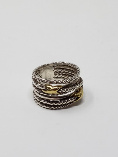 David Yurman Sterling silver 18K yellow gold David Yurman double X ring Image 7
