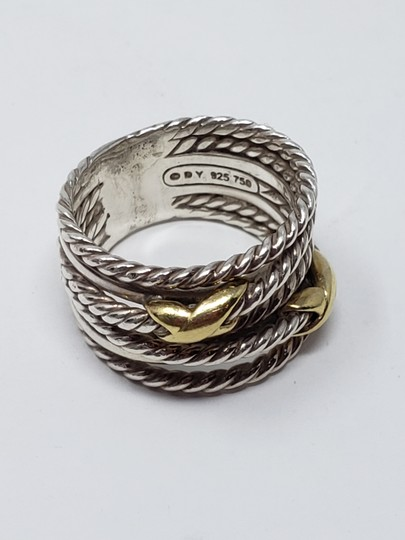 David Yurman Sterling silver 18K yellow gold David Yurman double X ring Image 8