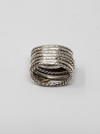 David Yurman Sterling silver 18K yellow gold David Yurman double X ring Image 9