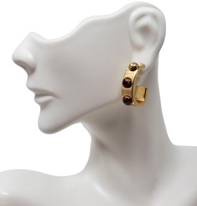 Louis Vuitton Gold-tone Louis Vuitton Gimme A Clue Lv logo hoop earrings
