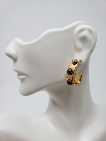 Louis Vuitton Gold-tone Louis Vuitton Gimme A Clue Lv logo hoop earrings Image 4