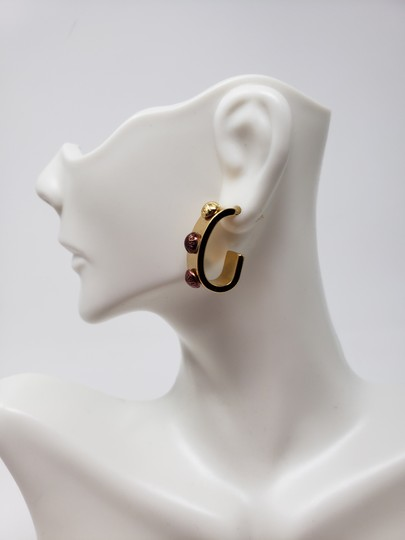Louis Vuitton Gold-tone Louis Vuitton Gimme A Clue Lv logo hoop earrings Image 5