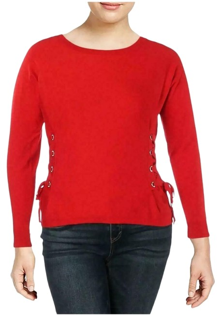 Preload https://img-static.tradesy.com/item/26207561/inc-international-concepts-lace-up-scoop-neck-red-sweater-0-1-650-650.jpg