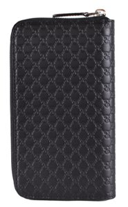 Gucci New Gucci Black Leather Micro GG Zip Around Wallet Clutch 544473
