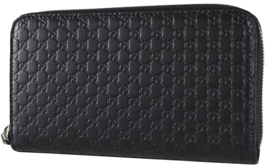 Gucci New Gucci Black Leather Micro GG Zip Around Wallet Clutch 544473 Image 1