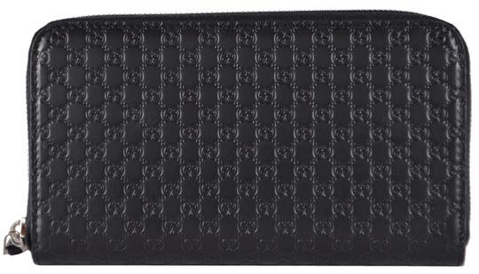 Gucci New Gucci Black Leather Micro GG Zip Around Wallet Clutch 544473 Image 2