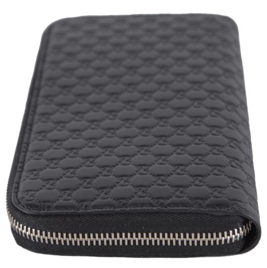 Gucci New Gucci Black Leather Micro GG Zip Around Wallet Clutch 544473 Image 3