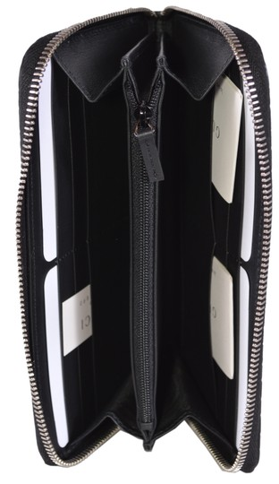 Gucci New Gucci Black Leather Micro GG Zip Around Wallet Clutch 544473 Image 4