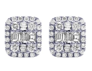 Jewelry Unlimited 18K White Gold 1.25CT Diamond Baguette Halo Stud Earrings 11MM