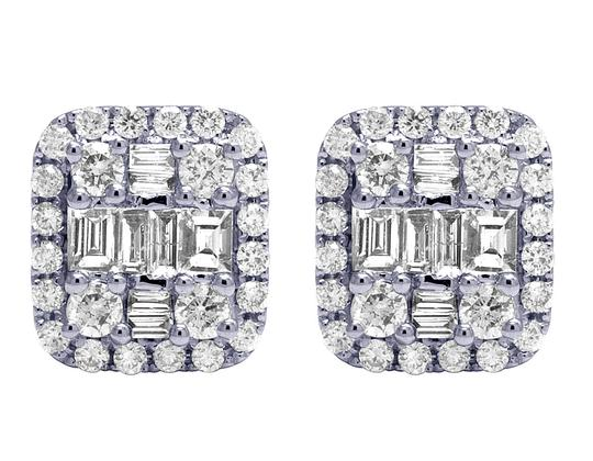 Jewelry Unlimited 18K White Gold 1.25CT Diamond Baguette Halo Stud Earrings 11MM Image 0