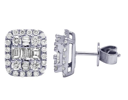 Jewelry Unlimited 18K White Gold 1.25CT Diamond Baguette Halo Stud Earrings 11MM Image 2