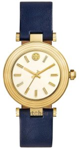 Tory Burch CLASSIC T WATCH, NAVY LEATHER/GOLD-TONE TBW9001