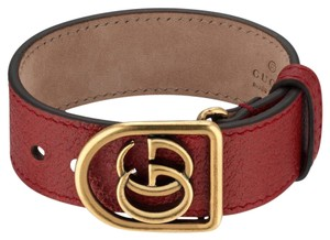 Gucci Red leather Gucci GG charm wrap bracelet
