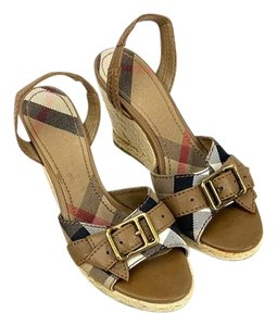 Burberry Nova Check Slingback Tan Wedges