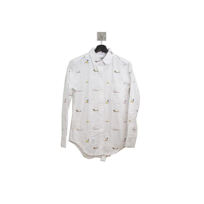 Item - White Oxford Multicolor Swimmer Embroidery Shirt Button-down Top Size 6 (S)