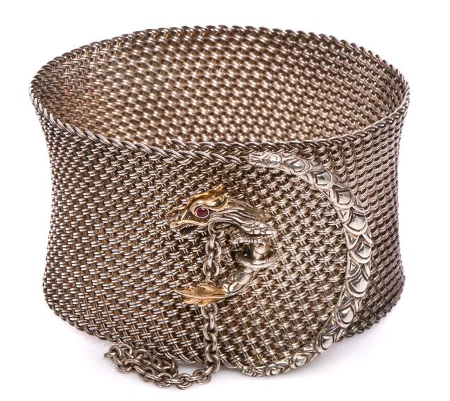 Item - 18k Gold and Silver Legends Dragon Mesh Cuffs. Bracelet