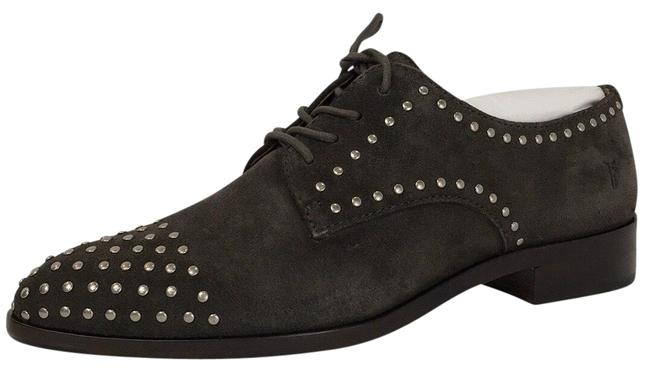 Item - Gray Studded Leather Suede Women's Oxford Flats Size US 8 Regular (M, B)