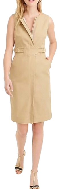Item - Beige Zip Front Sleeveless Trench Khaki Knee Length Belt Wrinkle Free Mid-length Cocktail Dress Size 4 (S)