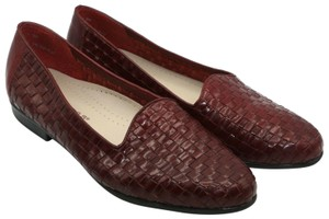 Trotters Leather Woven Round Toe Loafers Red Flats