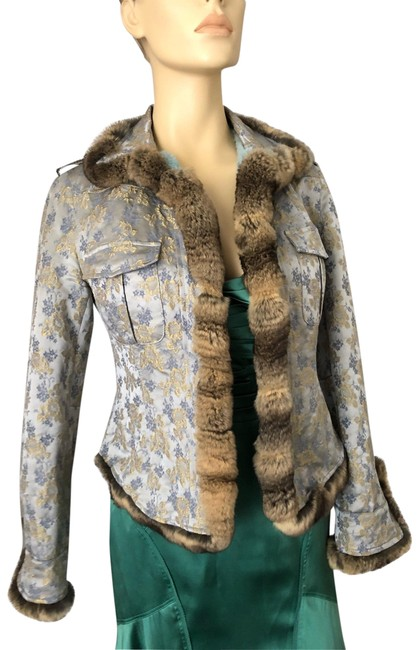 Item - Blue Blue/Gold/Silver/Gray Chinchilla/Rabbit Jacket Size 6 (S)
