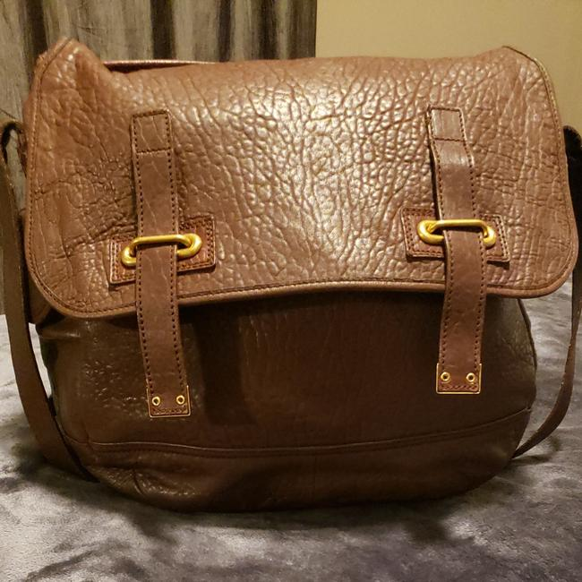 Item - Besace Ysl In Textured Brown Leather Messenger Bag