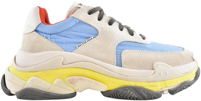 Item - Yellow Triple S V2 Blue Grey Suede Nylon Chunky Speed Flat Trainer Sneakers Size EU 39 (Approx. US 9) Regular (M, B)