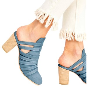 Free People blue and tan Mules