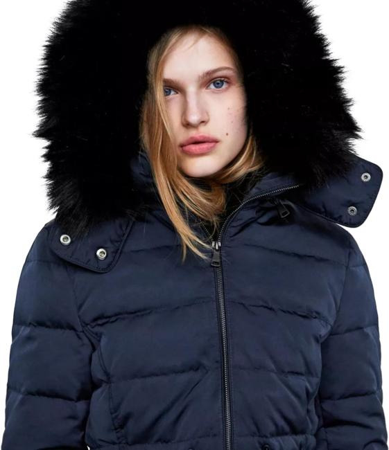 Zara Navy Blue Hood Down Puffer Jacket Coat Size 4 (S) Zara Navy Blue Hood Down Puffer Jacket Coat Size 4 (S) Image 1