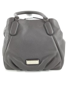 Marc Jacobs Mj Black Italian Leather Purse Tote in FADED ALUMINUM GREY/SILVER