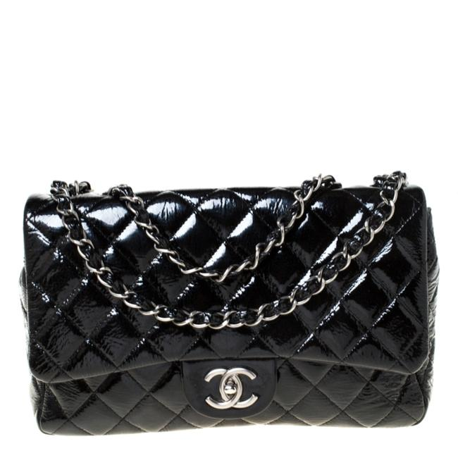 Chanel Classic Flap Quilted Jumbo Classic Single Black Patent Leather Shoulder Bag Chanel Classic Flap Quilted Jumbo Classic Single Black Patent Leather Shoulder Bag Image 1