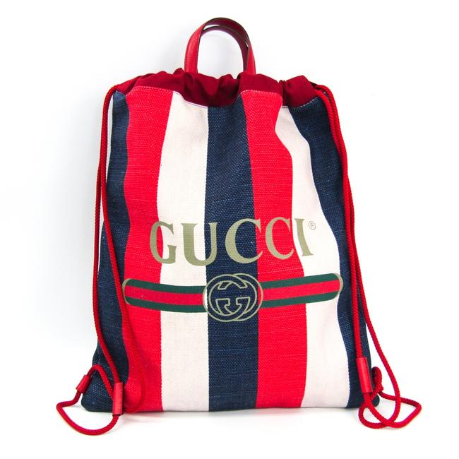 Gucci Drawstring Print Medium Stripe 473872 Unisex Ivory / Navy / Red Canvas / Leather Backpack Gucci Drawstring Print Medium Stripe 473872 Unisex Ivory / Navy / Red Canvas / Leather Backpack Image 1