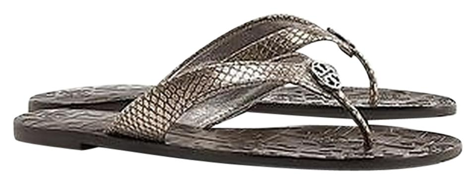 2d616f362d9d Tory Burch Pewter Thora Tumbled Leather Flip Flop Snake Print ...