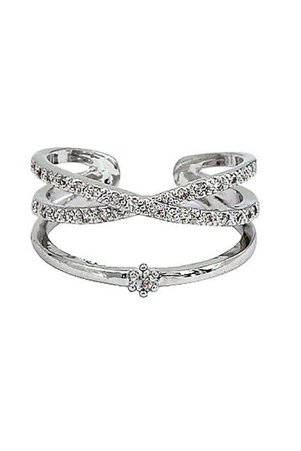 Ocean Fashion Silver Cross The Small Crystal Mosaic Ring Ocean Fashion Silver Cross The Small Crystal Mosaic Ring Image 1
