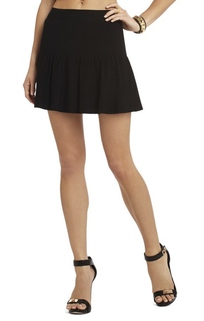 Item - Black Bcbg Sweater Knit Bandage Ruffle Flare Skirt Size 4 (S, 27)